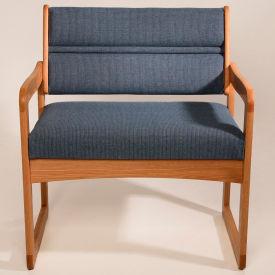 Bariatric Sled Base Chair - Light Oak/Blue Arch Pattern Fabric