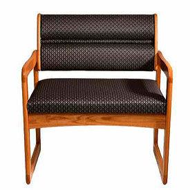 Bariatric Sled Base Chair - Medium Oak/Blue Arch Pattern Fabric