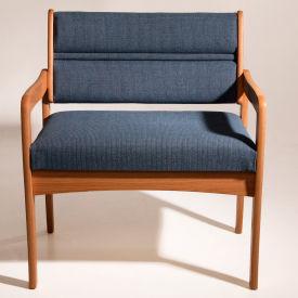 Bariatric Standard Leg Chair - Light Oak/Blue Water Pattern Fabric
