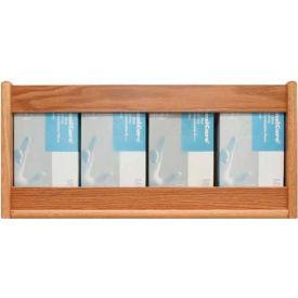 Wooden Mallet 4 Pocket Glove/Tissue Box Holder - Rectangle, Light Oak