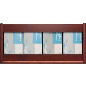 Wooden Mallet 4 Pocket Glove/Tissue Box Holder - Rectangle, Mahogany