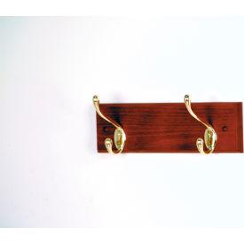 """12"""" Coat Rack with 2 Brass Hooks - Mahogany"""