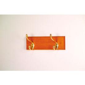 "12"" Coat Rack with 2 Brass Hooks - Medium Oak"
