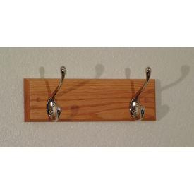 """12"""" Coat Rack with 2 Nickel Hooks - Light Oak"""