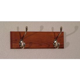 "12"" Coat Rack with 2 Nickel Hooks - Medium Oak"