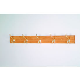 "36"" Coat Rack with 5 Brass Hooks - Light Oak"