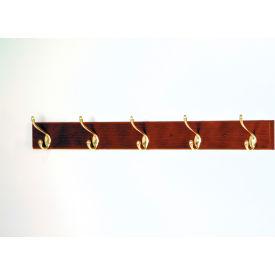 """36"""" Coat Rack with 5 Brass Hooks - Mahogany"""