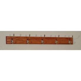 "36"" Coat Rack with 5 Nickel Hooks - Medium Oak"
