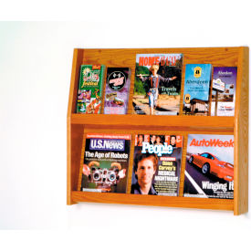 6 Magazine/12 Brochure Wall Display - Medium Oak