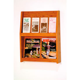 4 Magazine/8 Brochure Wall Display - Medium Oak