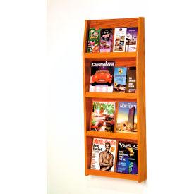 8 Magazine/16 Brochure Wall Display - Medium Oak