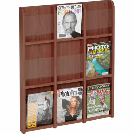 9 Magazine/18 Brochure Oak & Acrylic Wall Display - Mahogany
