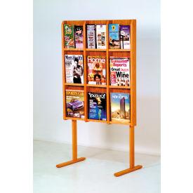 12 Magazine/24 Brochure Oak & Acrylic Wall Display - Medium Oak