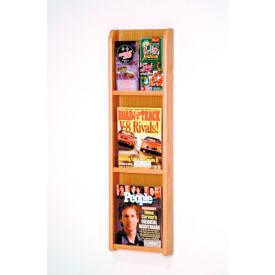 3 Magazine/6 Brochure Oak & Acrylic Wall Display - Light Oak
