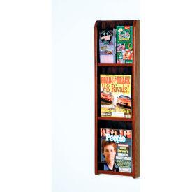 3 Magazine/6 Brochure Oak & Acrylic Wall Display - Mahogany