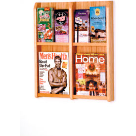 4 Magazine/8 Brochure Oak & Acrylic Wall Display - Light Oak