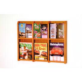6 Magazine/12 Brochure Oak & Acrylic Wall Display - Medium Oak