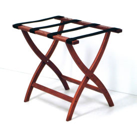 Luggage Rack w/ Convex Legs - Mahogany/Black
