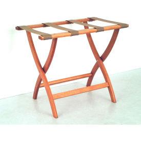 Luggage Rack w/ Convex Legs - Medium Oak/Tan