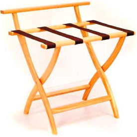 Wooden Mallet WallSaver™ Luggage Rack with Brown Webbing, Light Oak