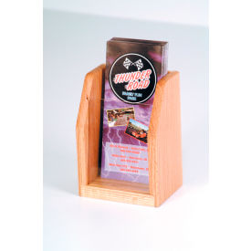 Countertop Single Pocket Brochure Display - Light Oak