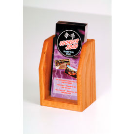 Countertop Single Pocket Brochure Display - Medium Oak