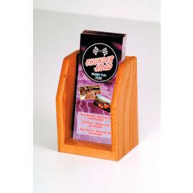Countertop Single Pocket Brochure Display - Medium Oak