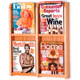 Wooden Mallet Divulge 4 Magazine Wall Display, Light Oak