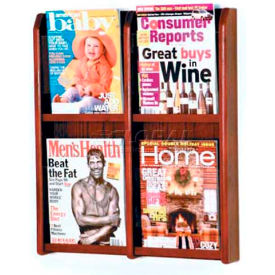 Wooden Mallet Divulge 4 Magazine Wall Display, Mahogany
