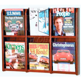 Wooden Mallet Divulge 6 Magazine Wall Display, Mahogany