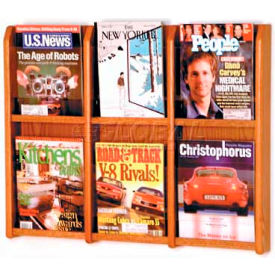 Wooden Mallet Divulge 6 Magazine Wall Display, Medium Oak