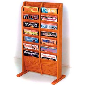 Wooden Mallet Cascade Free-Standing 14 Pocket Magazine Rack, Medium Oak