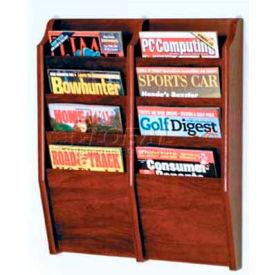 Wooden Mallet Cascade 8 Pocket Magazine Rack, Mahogany
