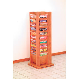 40 Magazine Rotary Floor Display - Medium Oak