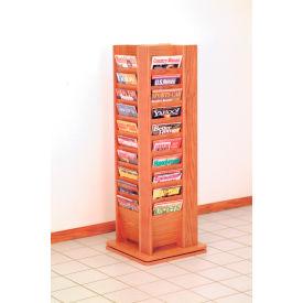40 Magazine Rotary Floor Display - Medium Oak