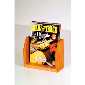 Countertop Single Pocket Magazine Display - Medium Oak