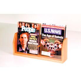 Countertop 2 Pocket Magazine Display - Light Oak
