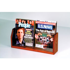 Countertop 2 Pocket Magazine Display - Mahogany