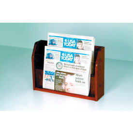 Countertop 2 Pocket Newspaper Display - Mahogany
