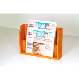 Countertop 2 Pocket Newspaper Display - Medium Oak