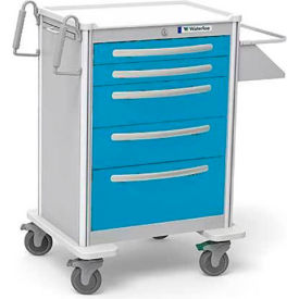 Waterloo Healthcare 5-Drawer Aluminum X-Tall Treatment Cart, Key Lock, Light Blue