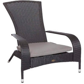 Patio Sense Coconino Outdoor Wicker Chair - Black with Gray Cushion