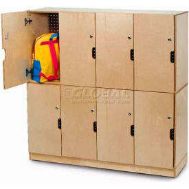 """Four Section Backpack Storage Locker w/Locking Doors, 47-1/2""""W x 15-3/4""""D x 22-1/2""""H, Natural"""