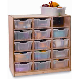 """Preschool Cubby Storage Unit With 15 Clear Trays, 40-1/2""""W x 17-1/2""""D x 39""""H, Natural"""