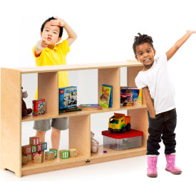 """Whitney Brothers 30""""H Preschool Storage Shelf Cabinet - Wood with Clear Acrylic Back"""