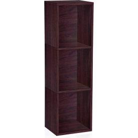 Way Basics Eco 3 Shelf Narrow Bookcase, Espresso
