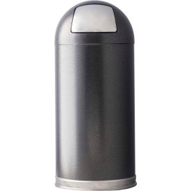 Granite 15 Gallon Steel Receptacle w/Push Door Dome Lid, Silver Vein - 15DTSVN
