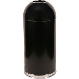 Standard 15 Gallon Steel Receptacle w/Open Dome Top, Black - 415DTBK