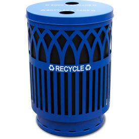 Covington 40 Gallon Flat Top Recycling Receptacle, Blue - COVR40P-FTR-BL