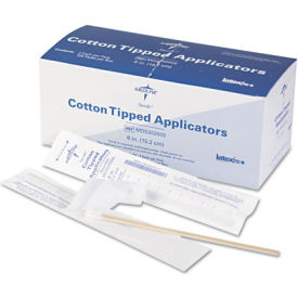 """Medline MDS202000 Sterile Cotton Tipped Applicators, 6"""" Length, Box of 200"""